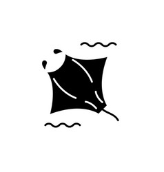 manta black icon sign on isolated vector image