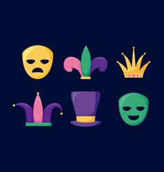 mardi gras card set icons vector image