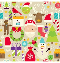 Merry Christmas Flat Design Beige Seamless Pattern vector image