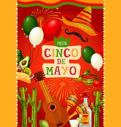 Mexican holiday guitar and sombrero cinco de mayo vector