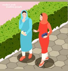 Modern muslims women background vector