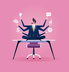 Multitasking businessman sitting in yoga lotus vector