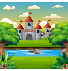 Nature scene in front of the castle background vector