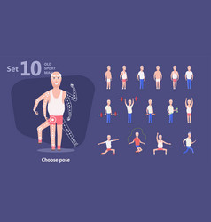 older man perform exercises fitness training vector image