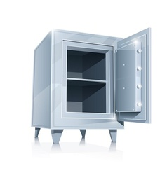 open empty metallic safe vector image