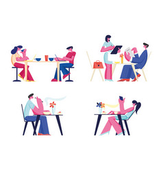 people relaxing in restaurant or cafe set vector image