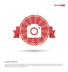 photo camera icon - red ribbon banner vector image