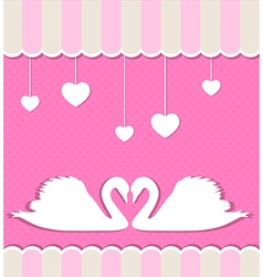 Pink background with two white swans vector