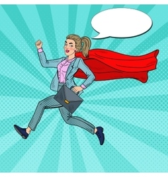Pop Art Super Business Woman Running vector image