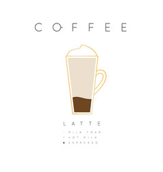 Poster coffee latte white vector