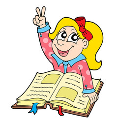 Pupil with book vector
