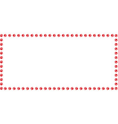 Rectangle border made of red animal paw prints on vector