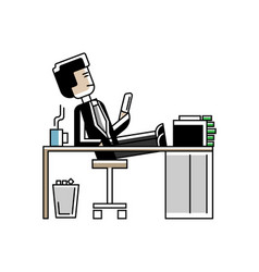 Relaxed asian man with her feet on the table vector