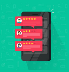 Reviews rating bubble on mobile phone vector