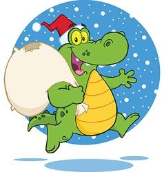 Royalty Free RF Clipart Crocodile Santa Cartoon vector image