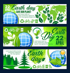 Save planet banner for earth day celebration vector