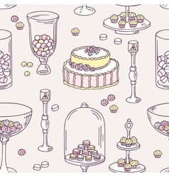 Seamless pattern with hand drawn candy bar objects vector