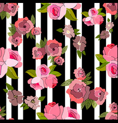 Seamless pattern with pink hand drawn flowers vector