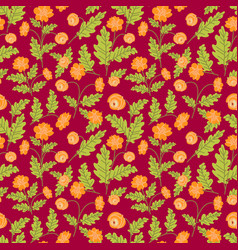 seamless pattern with spring folk flowers vector image