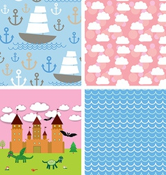 Set 3 seamless background Castle fairytale vector image