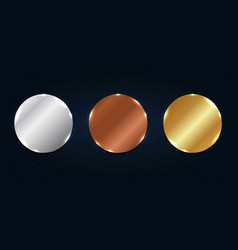 set abstract copper silver gold shiny vector image