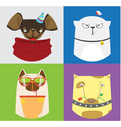 set of four cute cats and dogs vector image