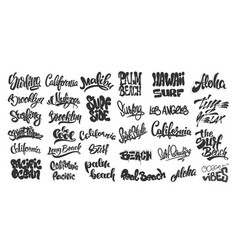 set of handwritten city names and surf lettering vector image