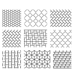 Set of tile seamless patterns in black and vector image