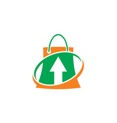 shopping bag arrow business logo vector image