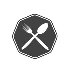 simple octagonal vintage restaurant symbol design vector image