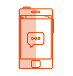 smartphone with speech bubble device isolated icon vector image