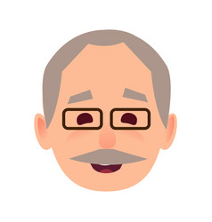 Smiling old man in glasses face flat icon vector