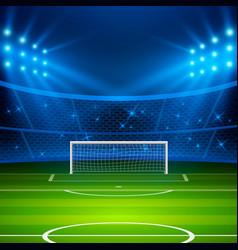 Soccer stadium football arena field with goal vector