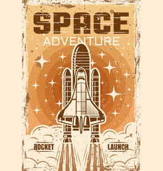 Space shuttle flight up colored vintage poster vector