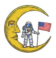 Spaceman usa flag on moon color sketch engraving vector