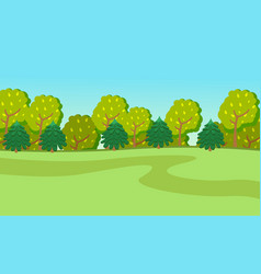 spring or summer green cartoon country landscape vector image