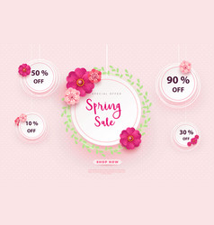 spring sale s banner template with paper flower on vector image
