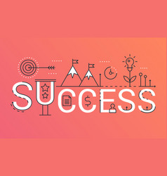 success word trendy composition banner outline vector image