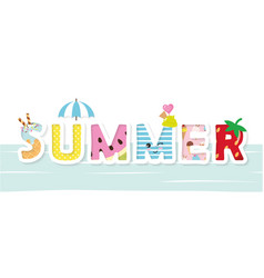 summer cartoon decorative letters vector image