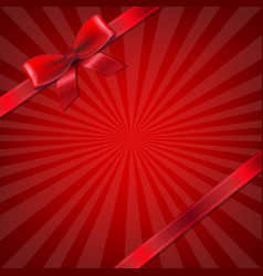 sunburst with red ribbon and bow vector image