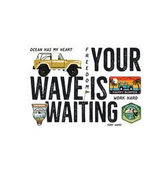 Surfing badge design outdoor adventure logo vector