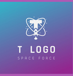 T initial space force logo design galaxy rocket vector