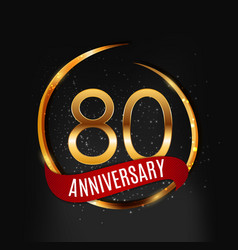 template gold logo 80 years anniversary with red vector image