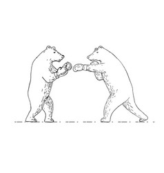 Two grizzly bear boxers boxing drawing vector