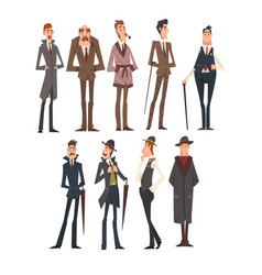 Victorian gentlemen characters set rich and vector