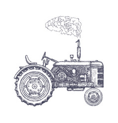 Farmer Driving Vintage Tractor Vector Images 83