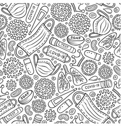 Viruses hand drawn doodles seamless pattern vector