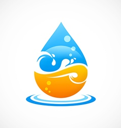 wave water drop abstract logo vector image