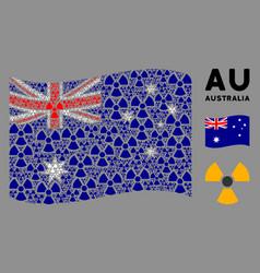 Waving australia flag composition radioactivity vector