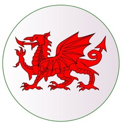 Welsh Dragon Button vector